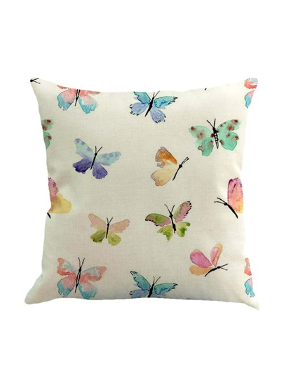 Butterfly Overlay Print Pillowcase Cover