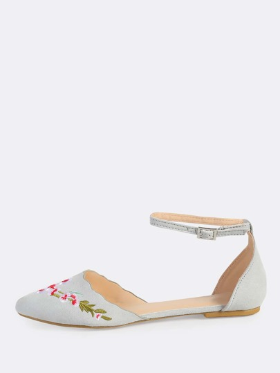 Floral Embroidered Ankle Strap Flats LIGHT GREY