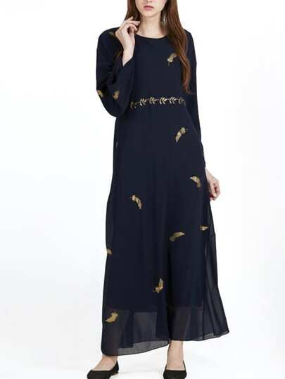 Feather Gold Print Sheer Chiffon Dress