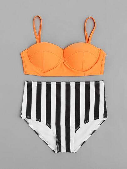 Ensemble de bikini bustier taille haute à rayures