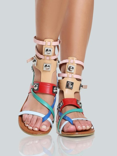 Colorblock Multi Buckle Sandals MULTI