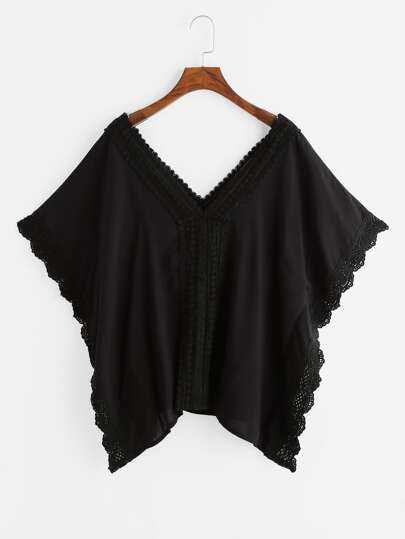 Double V Crochet Lace Trim Cape Blouse