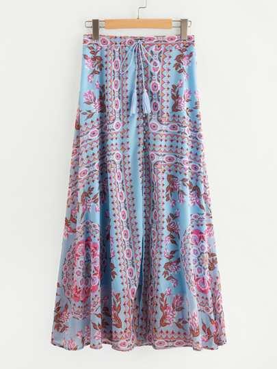 Tassel Tie Split Front Chiffon Skirt