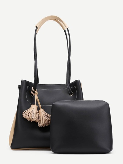 Tassel Detail Two Tone Tote Bag With Clutch