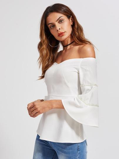Bardot Bluse mit Perlen und Flötehülsen