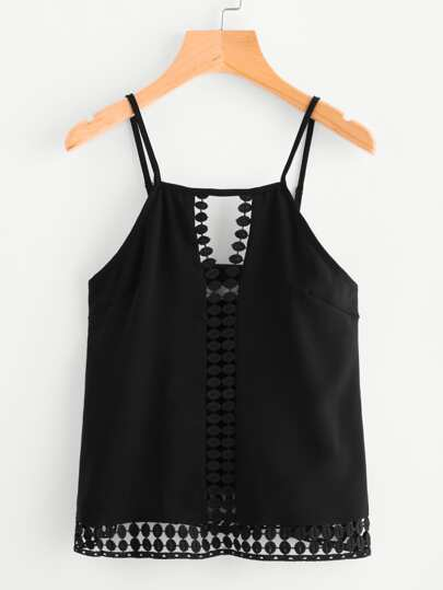 Hollow Crochet Lace Panel Cami Top