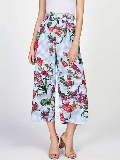 Self Tie Mixed Print Culotte Pants