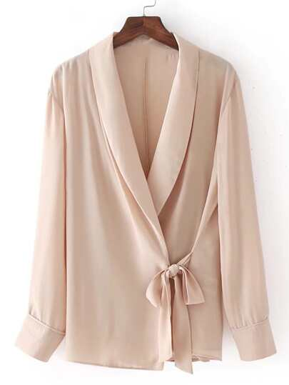 Shawl Collar Lace Up Detail Top
