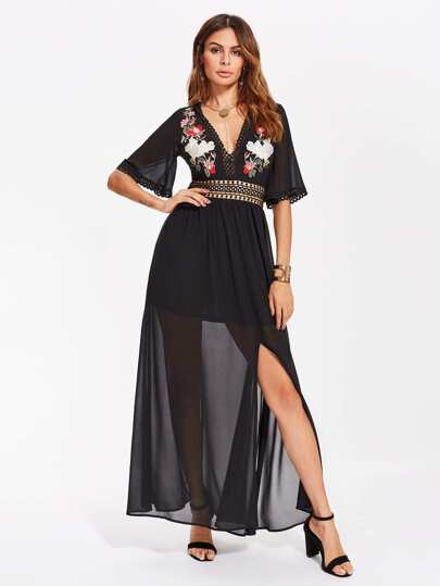 Eyelet Lace Panel Flower Embroidered Plunge Dress
