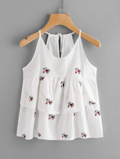 Flounce Layered Flower Embroidered Cami Top