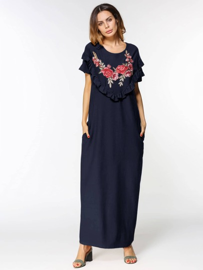Flower Embroidered Frill Detail Dress