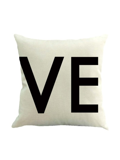 Contrast Letter Print Pillowcase Cover