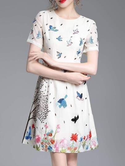 Birds Embroidered A-Line Dress