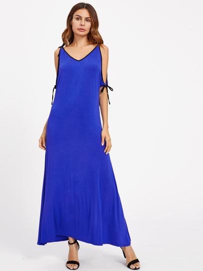 Contrast Binding Tied Open Shoulder Dress