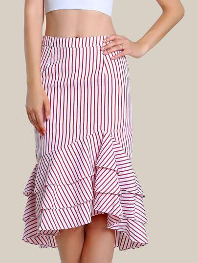 Ruffle Front Stripe Bodycon Skirt RED