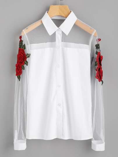 3D Embroidered Appliques Mesh Panel Shirt