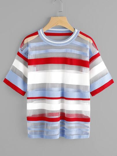 T-shirt a strisce ampie