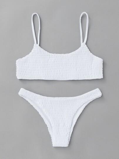 Conjunto de bikini fruncido con tirantes finos