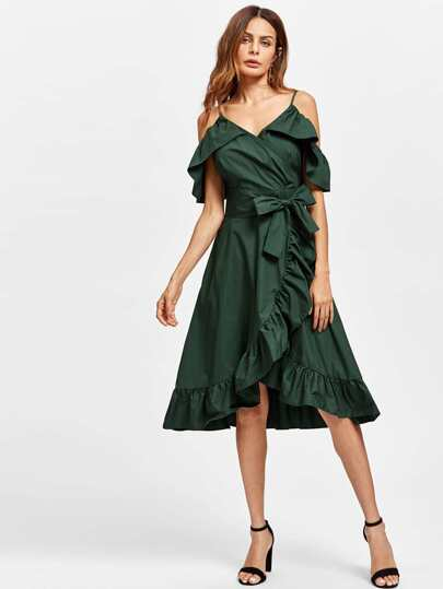 Frill Trim Self Tie Overlap Dress
