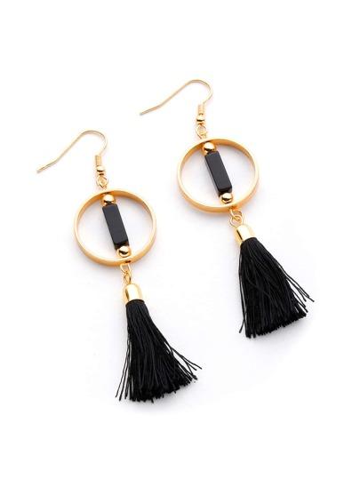 Ring And Tassel Design Drop Earrings