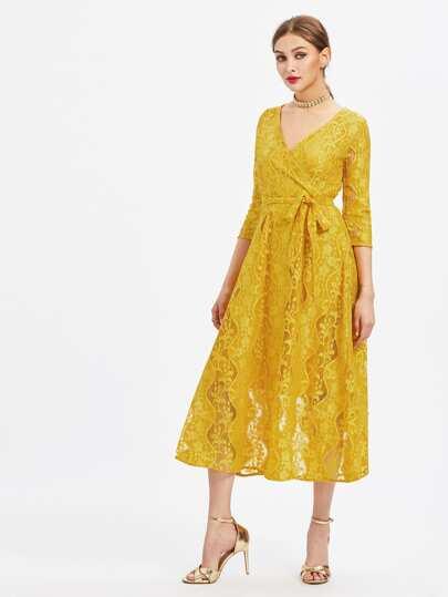 Chorhemd Kleid mit Spitze und Selbstbindung