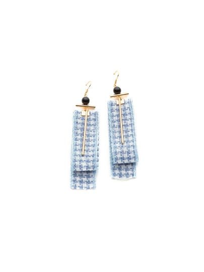 Grid Ribbon & Bar Design Drop Earrings