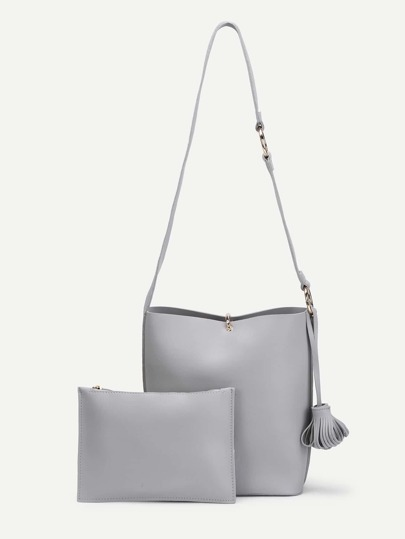 Tassel Detail PU Shoulder Bag With Clutch