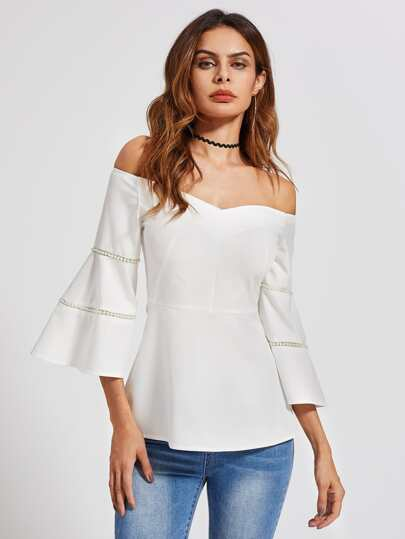 Beading Pearl Insert Fluted Sleeve Bardot Top
