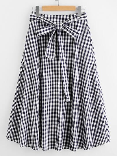 Tie Waist Hidden Pocket Gingham Skirt