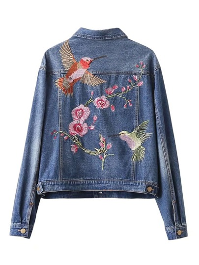 Bird And Flower Embroidery Back Denim Jacket