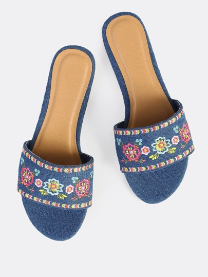Embroidered Denim Slips Ons BLUE DENIM