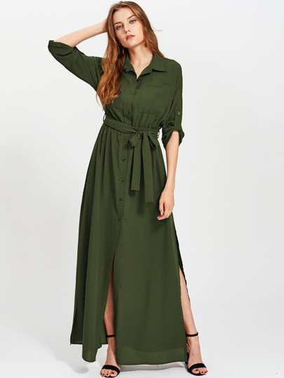 Roll Tab Sleeve Side Slit Equipment Shirt Dress