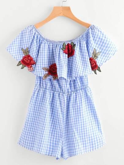 Combinaisons brodé à carreaux avec des appliques des roses et des plis