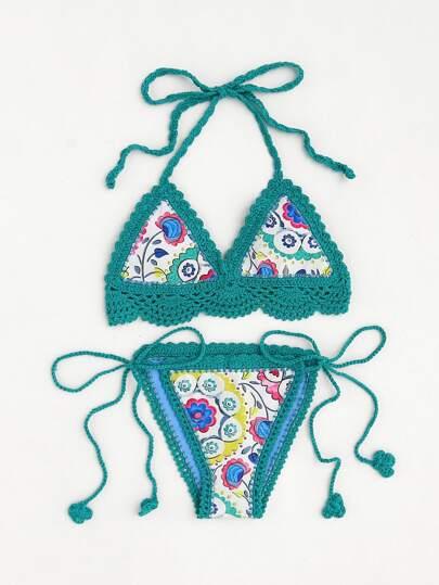 Calico Print Halter Crochet Bikini Set