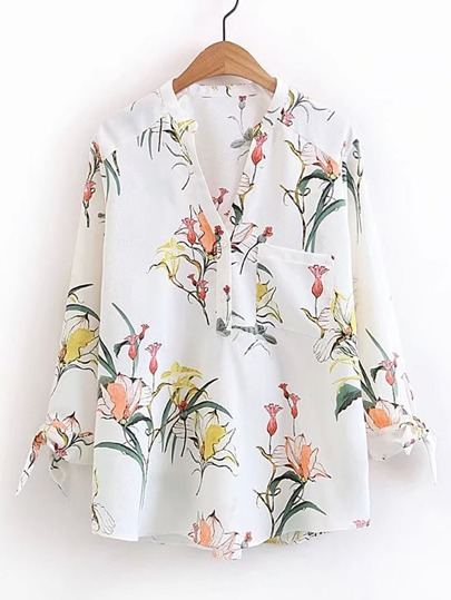 Floral Print Knot Cuff Blouse
