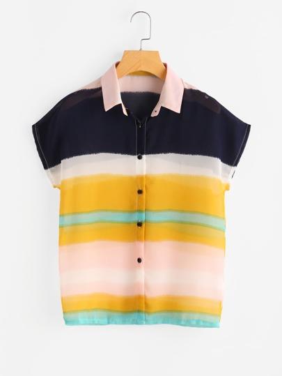 Blusa de gasa de rayas anchas con manga dolman