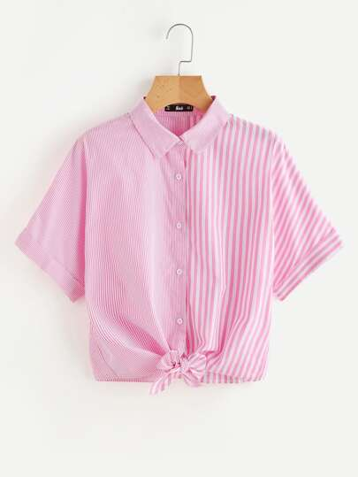 Knot Front Mixed Striped Shirt