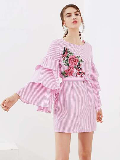 Flower Patch Tiered Bell Sleeve Dress