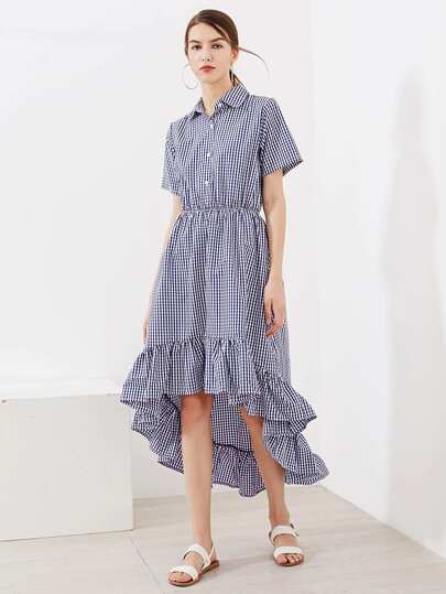 Gingham Frill Hem Shirt Dress