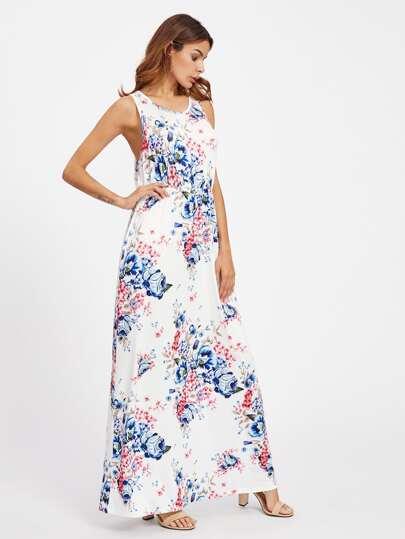 Random Florals Low Side Tank Dress
