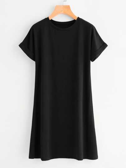 T-shirt vestito con maniche con risvolto