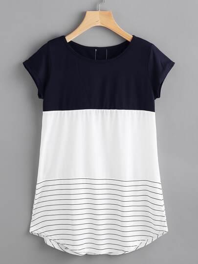T-Shirt mit Spitzen, Applikation und Streifen