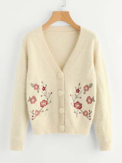 Flower Embroidered Fuzzy Cardigan
