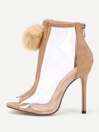 Pom Pom Front Zipper Design Stiletto Heels