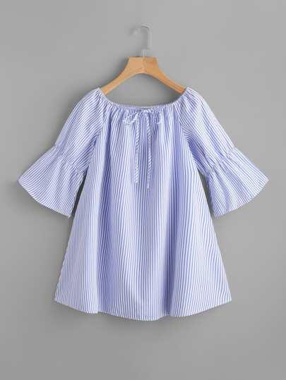 Bardot Tie Neck Flute Sleeve Vertical Striped Dress