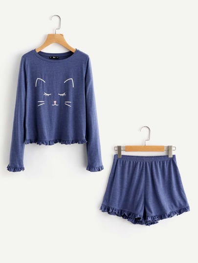 Cartoon Cat Print Frill Trim Top And Shorts Pajama Set