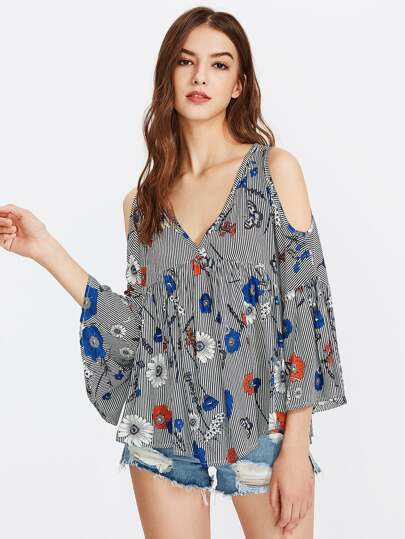 Random Print Open Shoulder Fluted Sleeve Top