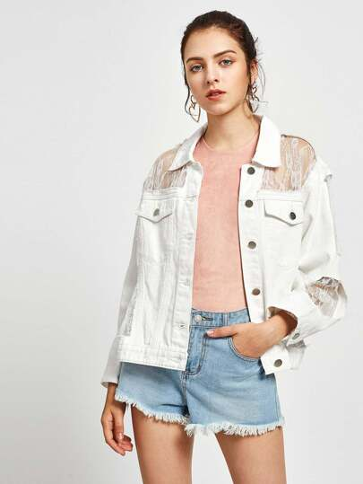 Floral Lace Lined Distressed Denim Jacket