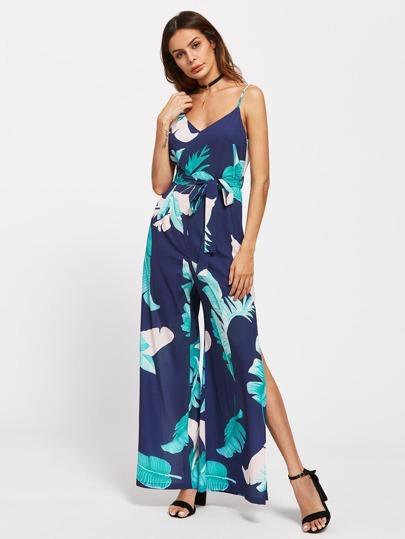 Palm Leaf Print V Back Slit Cami Jumpsuit