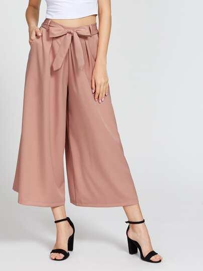 Pantalons jambe large avec un lacet